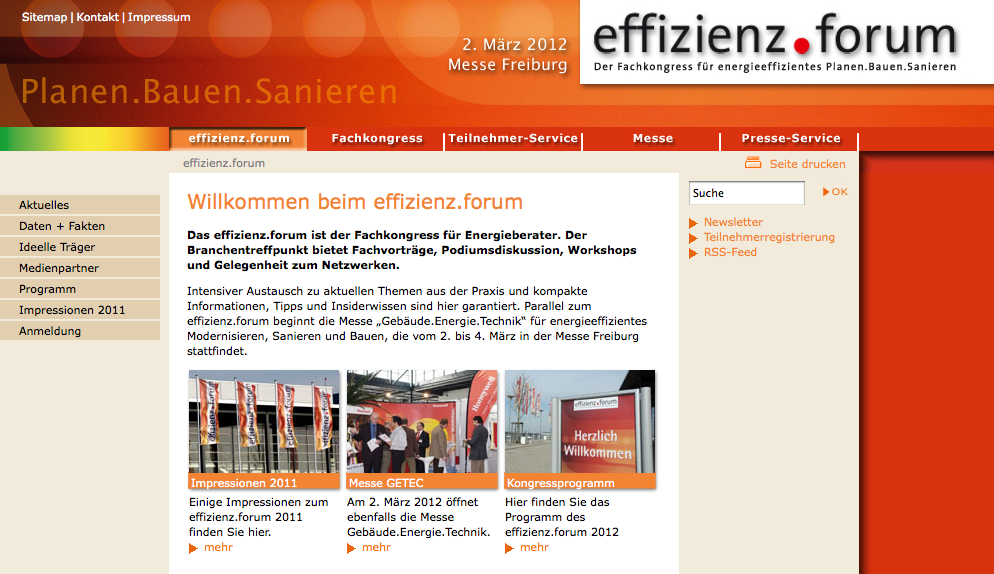 Effizienzforum 2012 in Freiburg